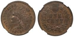 Us Coins - 1864 L Bronze Indian 1C NGC MS62 Brown