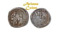 Ancient Coins - Byzantine, Heraclius, with Heraclius Constantine. 610-641. AR Hexagram. Rar this nice.