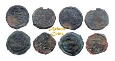Ancient Coins - Islamic, Arab Sasanian. Anonymous. AH 41-77 / AD 661-697. AE pashiz/Fals, undated. Rare Lot of 4