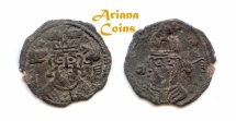Ancient Coins - Hunnic Tribes, Turko-Hephthalites, Nezak Huns. Sahi Tigin. 7th century AD. AE Obol. Extremely Rare.