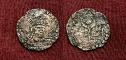 Ancient Coins - Hunnic Tribes, Central Asia, Nezak Huns. (Turk Shahi Kings of Kabul) 7th-8th Century AD. AE Drachm. Unique or Extremely Rare