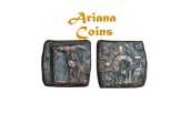 Ancient Coins - Baktrian Kings. Dionysios 65-55 BC or Apollodotus II. AE Square Unit. Very Rare