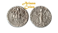 Ancient Coins - Indo-Scythians, Azilizes. Circa 57-35 BC. AR Tetradrachm