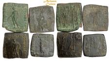 Ancient Coins - Bactrian Kings. Apollodotus I. Circa 175-165 BC. AE Quadruple Unit. Lot of 4