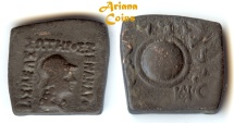 Ancient Coins - Indo-Greek Kingdom. Menander I Soter. Circa 155-130 BC. AE Quadruple Unit