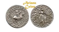 Ancient Coins - Indo-Skythians, Azes. Circa 58-12 BC. AR Tetradrachm. Rare