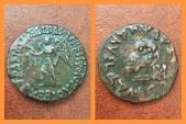 Ancient Coins -  Baktria Indo-Greek Kingdom. Archebios Dikaios Nikephoros. Circa 90-80 BC. AE Hemiobol. Very Rare.