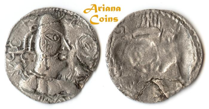 Ancient Coins -  Hunnic Tribes, Alchon Huns. Khingila. Circa AD 440-490. AR Drachm. Scarce