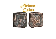 Ancient Coins - Baktrian Kings. Dionysios 65-55 BC or Apollodotus II. AE Square Unit. Very Rare & nice example