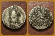 Ancient Coins - Parthian Kings, Vologases VI. AD 208-228. AR Drachm. Ekbatana mint. Superb & Rare Type