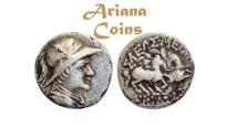 Ancient Coins - Baktrian Kings. Eukratides I. Circa 170-145 BC. AR Drachm.