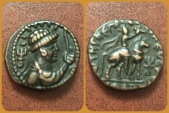 Ancient Coins - INDIA, KUSHAN EMPIRE. VIMA TAKTO (SOTER MEGAS). CIRCA AD 80-100. Æ TETRADRACHM. Superb