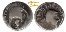 Ancient Coins - Indo Parthian, Aria or Margiana. Tanlis Mardates, with Raggodeme. Mid-late 1st century BC. AR Drachm