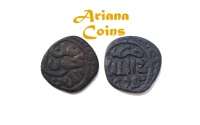 Ancient Coins - Islamic, Mehrabanids, Izz al-Haqq wa'l-Din Karman, 753-784 AH. AE Jital. Rare this condition.