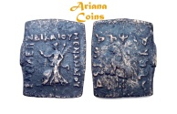 Ancient Coins - Indo-Greek Kingdom. Menander II Dikaios. Circa 90-85 BC. AE Unit/hemi-obol . Very Rare