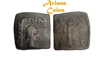 Ancient Coins -  Indo-Greek Kingdom. Menander I Soter. Circa 155-130 BC. AE Quadruple Unit