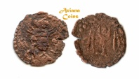 Ancient Coins - Hunnic Tribes, Nezak Huns, Uncertain King, time of Shahi Tigin?, Circa. 710-20 AD, AE. Extremely Rare.