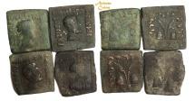 Ancient Coins -  Indo-Greek Kingdom. Antialkidas. Circa 115-95 BC. AE Square Hemiobol Lot of 4