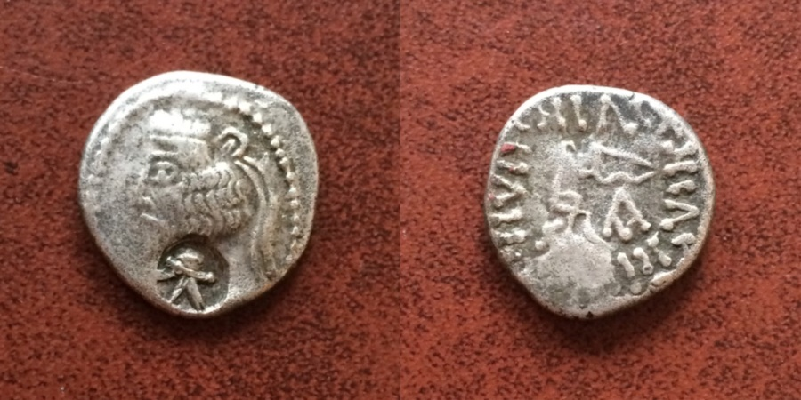 Ancient Coins - Indo Parthian Margiana or Sogdiana. king B. 50 BC-100 AD. Countermark on an imitation Parthian AR Drachm
