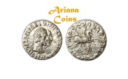 Ancient Coins - Indo-Greek Kingdom. Hermaios Soter, with Calliope. Circa 105 BC. AR Drachm