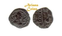 "Ancient Coins - Hunnic Tribes, Nezak Huns. Sahi Tigin ""Sri Sahi"". 7th century. Small AE Unit. with Bactrian legend, Very Rare"