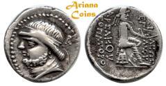 Ancient Coins - Parthian King. Phraates II. 132-126 B.C AR Drachm. Superb & Rare