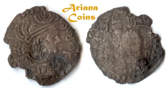 Ancient Coins - HUNNIC TRIBES, Nezak Huns. Shahi Tegin (Sri Shahi). 680-738 BI Drachm.