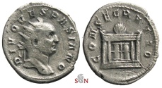 Ancient Coins - Divus Vespasianus Antoninianus - struck by Trajanus Decius - CONSECRATIO - Altar with flame - RIC 80