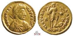 Ancient Coins - Honorius Gold Solidus - VICTORIA AVGGG - RIC 1321