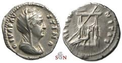 Ancient Coins - Diva Faustina I. Denarius - AETERNITAS - draped throne with peacock - RIC 353