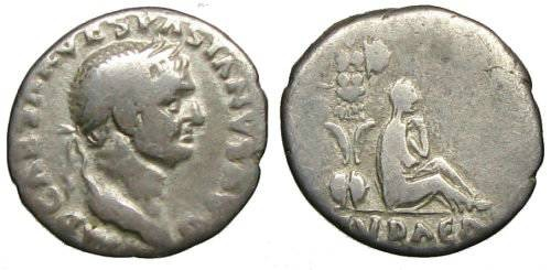 Ancient Coins - Vespasianus Denarius - IVDAEA CAPTA issue - RIC 15