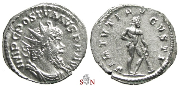 Ancient Coins - Postumus Antoninianus - VIRTVTI AVGVSTI - Very Rare - Elmer 390 - Ex Lückger collection