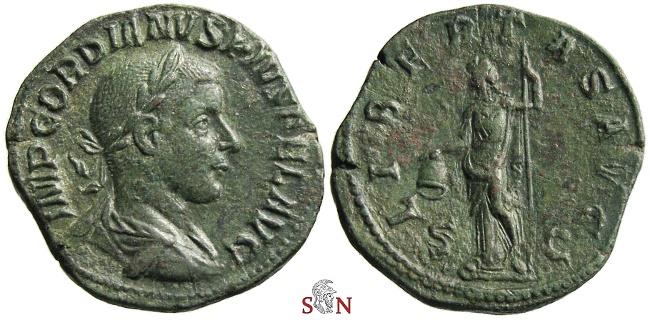 Ancient Coins - Gordianus III Sestertius - LIBERTAS AVG - RIC 318 a