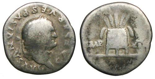 Ancient Coins - Vespasianus Denarius - Modius with corn-ears - RIC 110