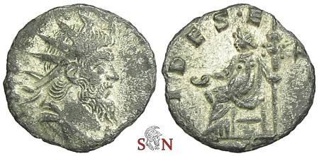 Ancient Coins - Postumus Antoninianus - struck under Aureolus - FIDES EQVIT / P - Elmer 612