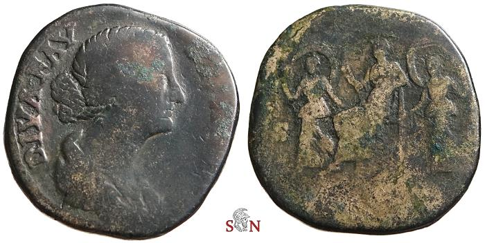 Ancient Coins - Diva Faustina II Sestertius - Faustina with two dancing girls - RIC 1697