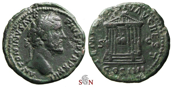 Ancient Coins - Antoninus Pius As - TEMPLVM DIV AVG REST - octostyle temple - RIC 1040