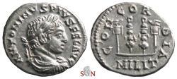 Ancient Coins - Elagabalus Denarius - CONCORDIA MILIT - two signa flanked by aquilae - RIC 187