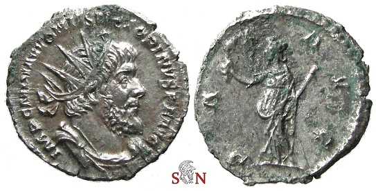 Ancient Coins - Victorinus Antoninianus - Very Rare first emission with the full name of Victorinus - Elmer 646 - Ex Lückger Collection