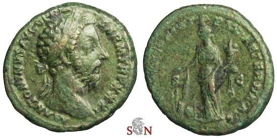 Ancient Coins - Marcus Aurelius As - Pax lighting pile of weapons - RIC 1202