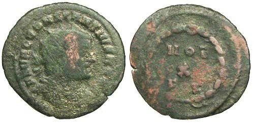 Ancient Coins - Constantius I Chlorus Radiate - VOT / X / FK within wreath - RIC 35a