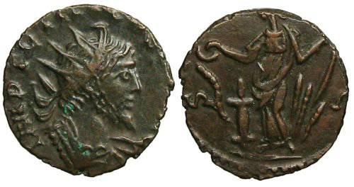 Ancient Coins - Tetricus I local imitation - Salus sacrificing over altar