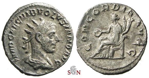 Ancient Coins - Volusianus Antoninianus - CONCORDIA AVGG - RIC 168 - Ex Lückger collection