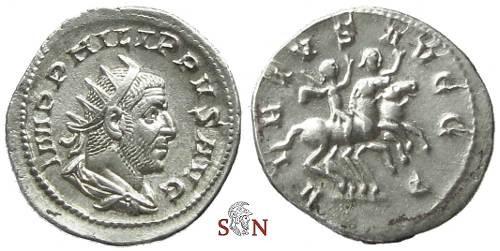 Ancient Coins - Philippus I. Arabs Antoninianus - Philippus I and II riding horses right - RIC 10 - scarce