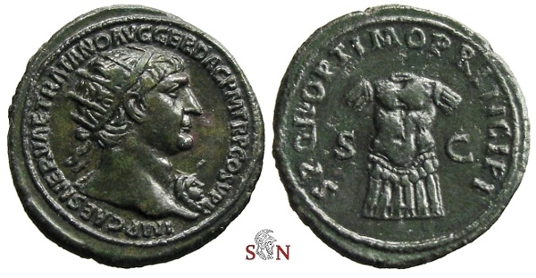Ancient Coins - Trajanus Dupondius - cuirass set upright to front - RIC 582 - rare