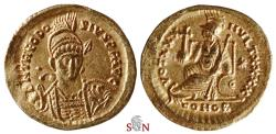 Ancient Coins - Theodosius II Gold Solidus - Constantinopolis seated left - RIC 257