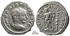 Ancient Coins - Elagabalus Denarius - IOVI CONSERVATORI - RIC 91
