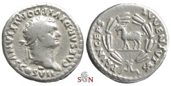 Ancient Coins - Domitianus Denarius - Goat stg. left - RIC 267