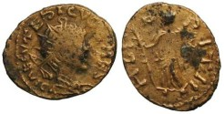 Ancient Coins - Tetricus II Local Imitation - Hilaritas standing left - Barbarous Radiate