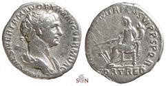 Ancient Coins - Trajanus Denarius - Fortuna seated left - RIC 154c